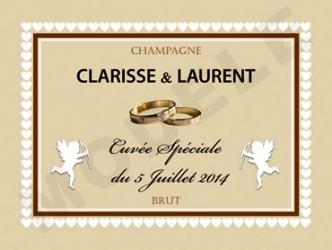Exemple d'étiquette personnalisée pour un mariage.